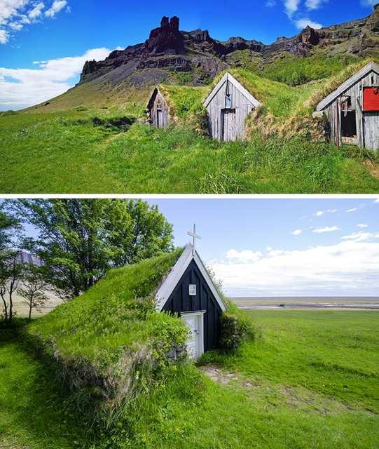 maisons au toit d'herbe