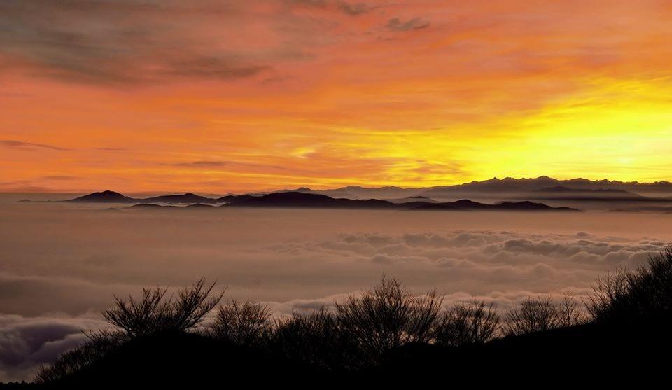 Le coucher du soleil sur le Monte Beigua, Ligurie